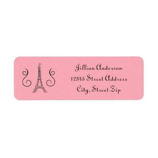 パリのテーマのピンク-差出人住所ラベル ラベル