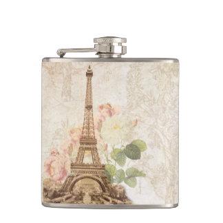 パリのピンクのバラのヴィンテージのロマンチックなフラスコ フラスク
