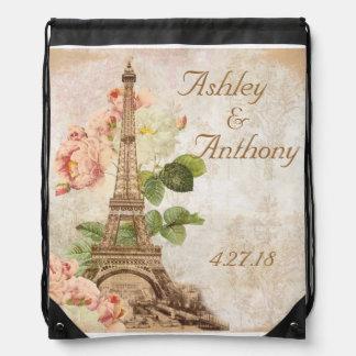 パリのピンクのバラの結婚式のドローストリングのバックパック ナップサック