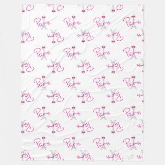 パリのピンクの弓が付いているエッフェル塔 フリースブランケット