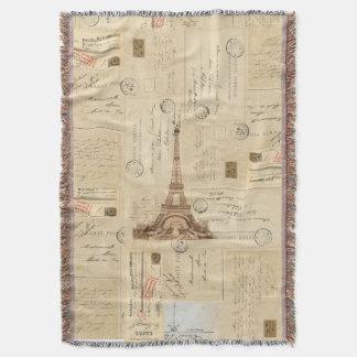 パリのフランスのなヴィンテージの郵便はがきのブランケット スローブランケット