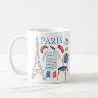 パリのフランスのな水彩画はマグを落書きします コーヒーマグカップ
