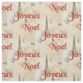 パリのフランスのな郵便はがきのクリスマスの生地 ファブリック