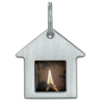 パリのフランス-夜のエッフェル塔 ペットネームタグ