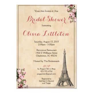 パリのブライダルシャワーの招待状-ピンクの花柄 カード