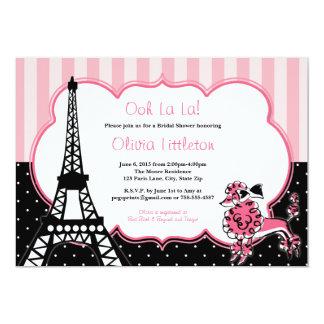 パリのブライダルシャワー招待状-ピンクおよび黒 カード