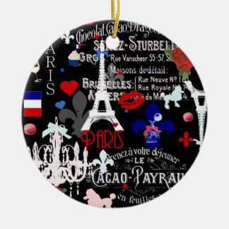 パリのモダンなフランスので黒いコラージュ セラミックオーナメント