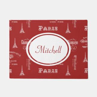 パリのラベルのフランスので赤く名前入りな玄関マット ドアマット