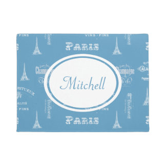 パリのラベルのフランスのな青の名前入りな玄関マット ドアマット