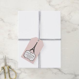 パリのロマンスのブライダルシャワーは感謝していしています ギフトタグ