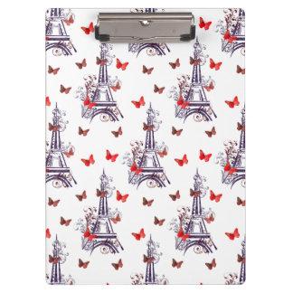 パリのロマンチックな紫色のエッフェル塔の蝶 クリップボード