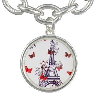 パリのロマンチックな紫色のエッフェル塔の蝶 チャームブレス