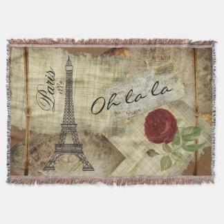 パリのヴィンテージのスタイル-赤いバラ スローブランケット