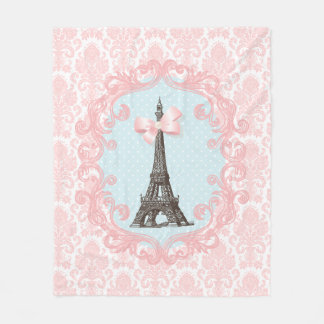 パリのヴィンテージのピンクのダマスク織のエッフェル塔のガーリーな弓 フリースブランケット