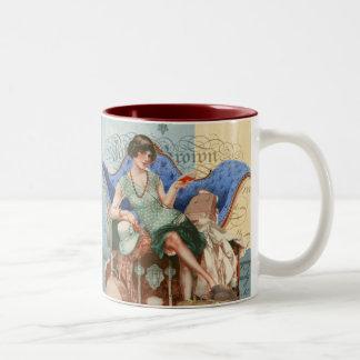 パリのヴィンテージのフラッパーの女の子 ツートーンマグカップ