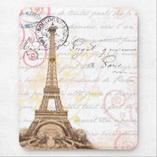 パリのヴィンテージのフランスのな執筆ピンクのマウスパッド マウスパッド