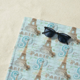 パリのヴィンテージのフランスのな執筆水のビーチタオル ビーチタオル