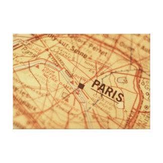 パリのヴィンテージの地図のプリント キャンバスプリント