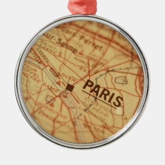 パリのヴィンテージの地図 メタルオーナメント