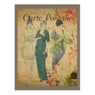 パリのヴィンテージの女性 ポストカード