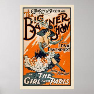 パリのヴィンテージポスターからの女の子 ポスター