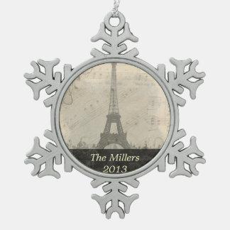 パリのヴィンテージ音楽オーナメント スノーフレークピューターオーナメント