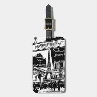 パリの写真の絵のクールなコラージュ ラゲッジタグ