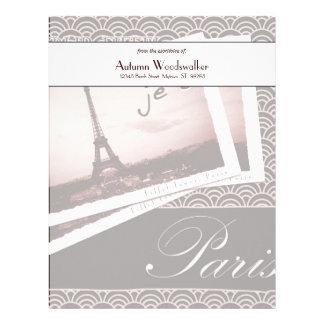 パリの名前入りな紙からの郵便はがき レターヘッド