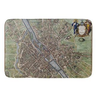パリの地図の1657年のSeine川の旧式なヴィンテージフランス バスマット