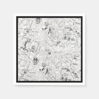 パリの地図 スタンダードカクテルナプキン