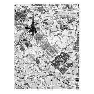 パリの地図 ポストカード