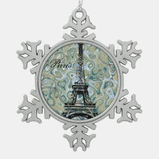 パリの大理石の青いデザイン スノーフレークピューターオーナメント