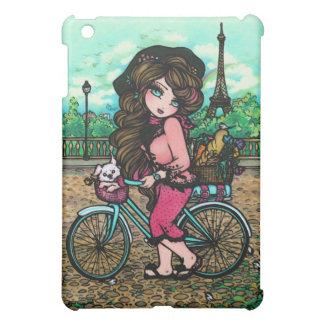 パリの女の子及び子犬の自転車の乗車の芸術 iPad MINIケース