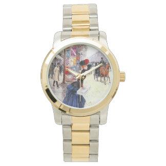 パリの女性交差の通り 腕時計