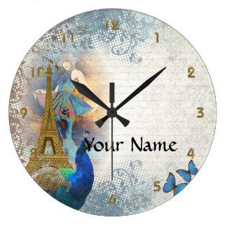 パリの孔雀のコラージュ ラージ壁時計