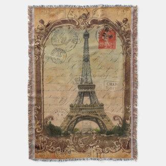 パリの景色のヴィンテージのエッフェル塔の装飾 スローブランケット
