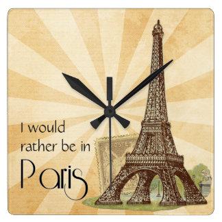パリの正方形の柱時計 スクエア壁時計
