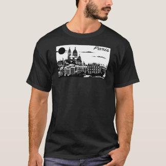 パリの男性基本的な暗いTシャツ Tシャツ