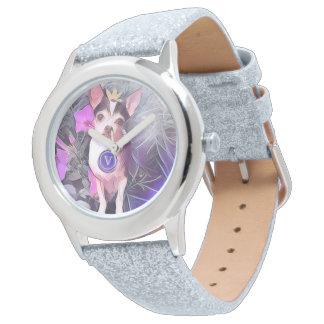 """パリの紫色の犬""""V""""のモノグラム 腕時計"""