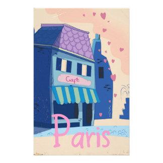 パリの通りのヴィンテージの漫画 便箋
