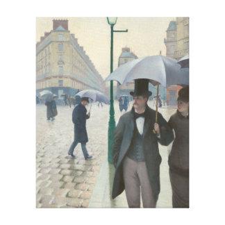 パリの通りの雨の日 キャンバスプリント