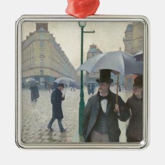 パリの通りの雨の日 メタルオーナメント