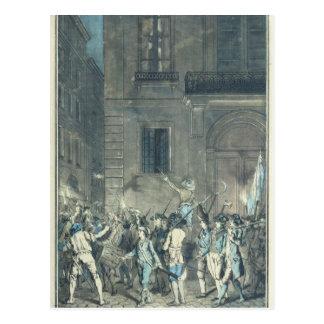 パリの通りを歩き回っている暴徒 ポストカード