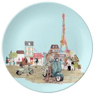 パリの通り 磁器プレート
