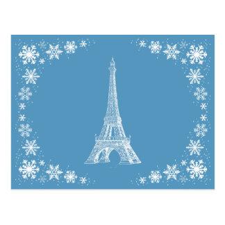 パリの雪のフランス人の郵便はがき ポストカード