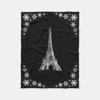 パリの雪の白黒フリースブランケット フリースブランケット