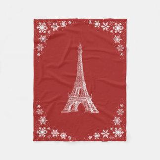 パリの雪の赤く白いフリースブランケット フリースブランケット