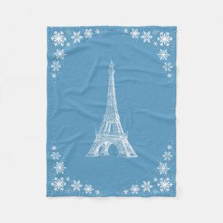 パリの雪の青く白いフリースブランケット フリースブランケット