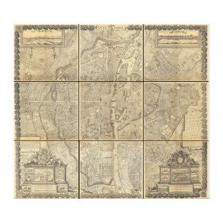 パリの1652年のGomboust 9のパネルの地図 キャンバスプリント
