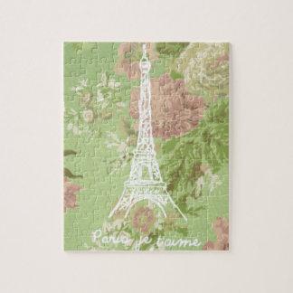 パリのjeのt'aimeのヴィンテージの花のエッフェル塔 ジグソーパズル